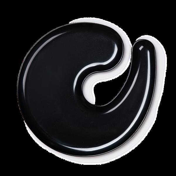 1handPlate big glossy black plate with a hole for a wine glass