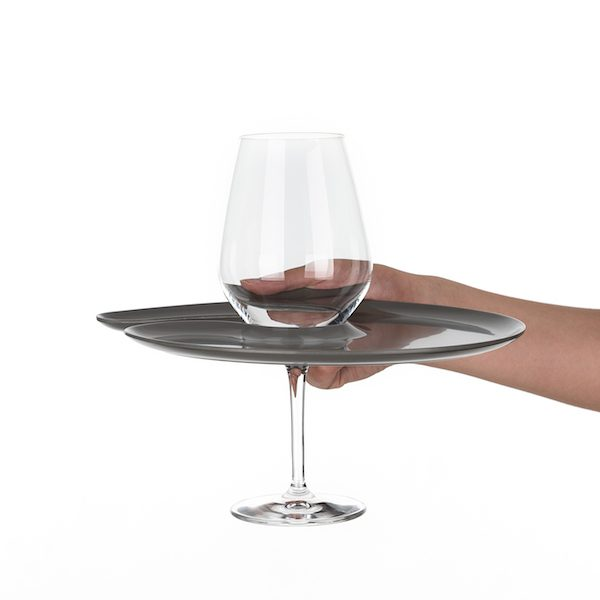 1handPlate big glossy grey plate with a hole for the wine glass just held with one hand