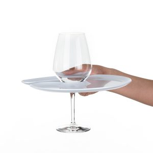 1handPlate big glossy white plate with a hole for the wine glass just held with one hand