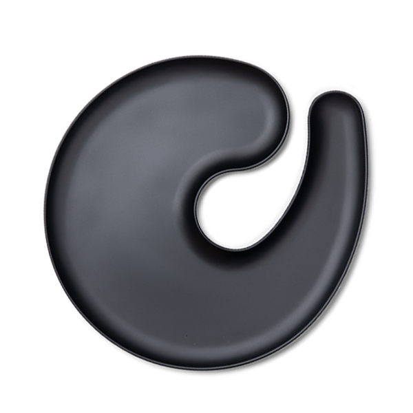 1handPlate big matt black plate with a hole for a wine glass