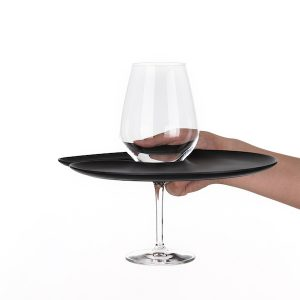 1handPlate big matt black plate with a hole for the wine glass just held with one hand