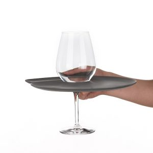 1handPlate big matt grey plate with a hole for the wine glass just held with one hand