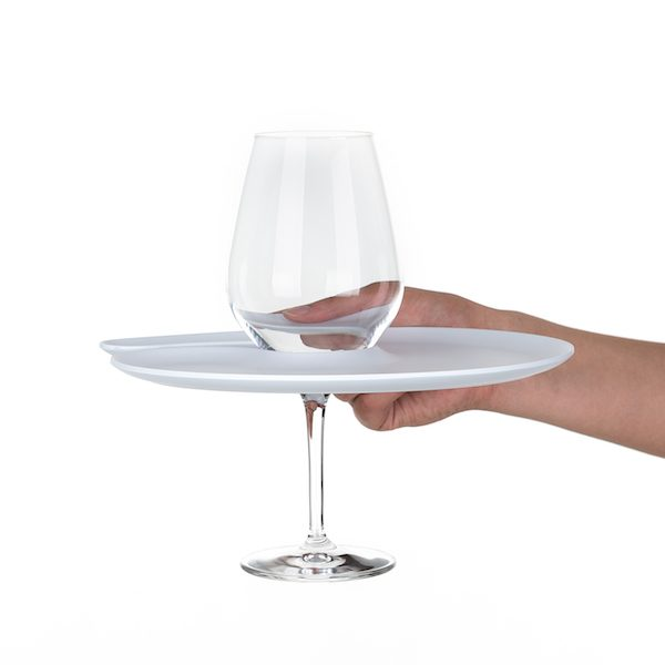 1handPlate big matt white plate with a hole for the wine glass just held with one hand