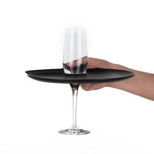 1handPlate big matt black plate with a hole for the champagne glass just held with one hand