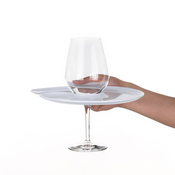 1handPlate small glossy white plate with a hole for the wine glass just held with one hand