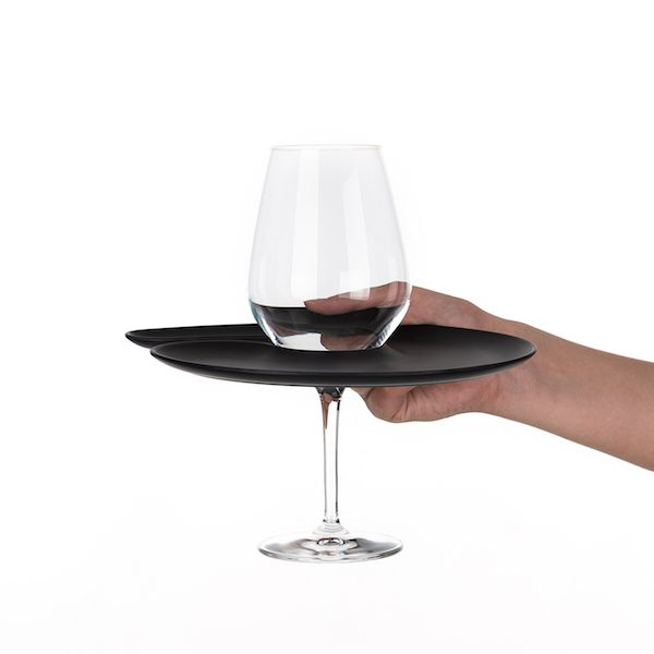 1handPlate small matt black plate with a hole for the wine glass just held with one hand