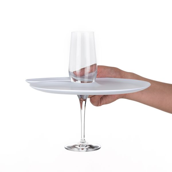 1handPlate big matt white plate with a hole for the champagne glass just held with one hand